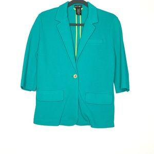 Lord & Taylor 100% Cotton Green Blazer Size Medium